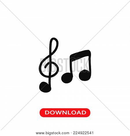 Music icon vector in modern flat style for web, graphic and mobile design. Music icon vector isolated on white background. Music icon vector illustration, editable stroke and EPS10. Music icon vector simple symbol for app, logo, UI.