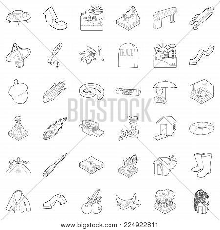 Atmospheric icons set. Outline set of 36 atmospheric vector icons for web isolated on white background