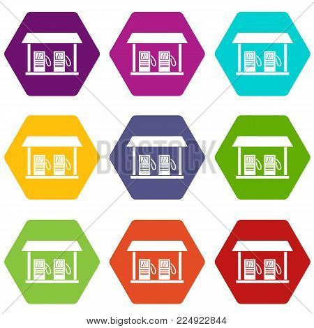 Gas station icon set many color hexahedron isolated on white vector illustration