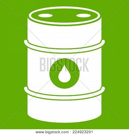 Metal oil barrel icon white isolated on green background. Vector illustration