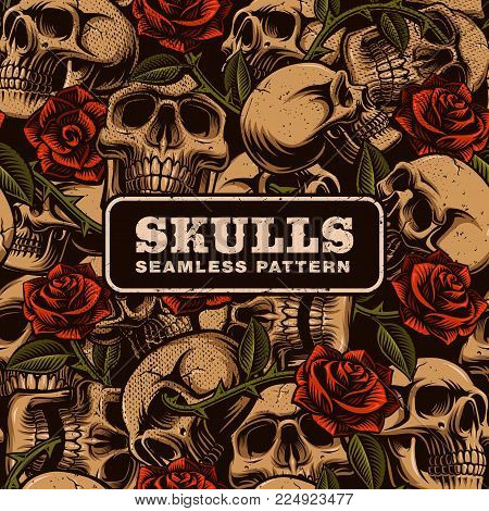Skull with roses seamless pattern. Tattoo seamless texture. Perfect for textile design.