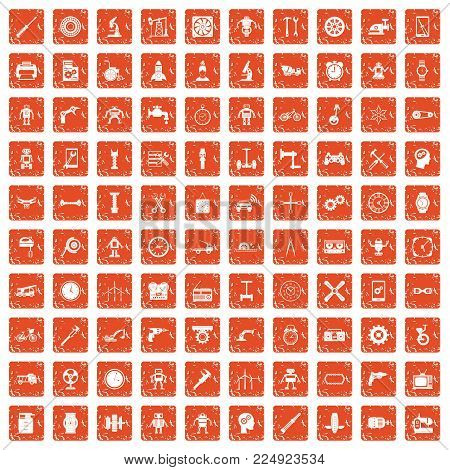 100 gear icons set in grunge style orange color isolated on white background vector illustration