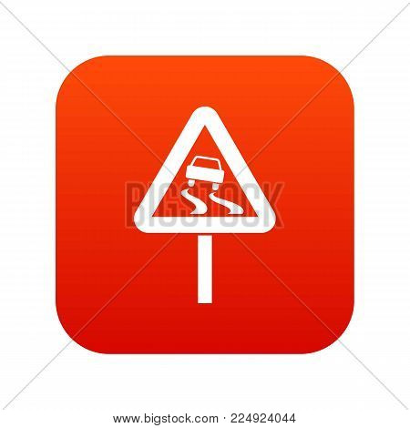 Slippery when wet road sign icon digital red for any design isolated on white vector illustration