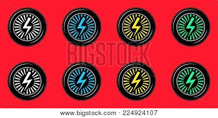 Black Wheel with Electric Sign. Vector Stylized Logo, Wheel of Electric Car on the Red Background. Symbol of Car Industry and Ecological Energy. Second Collection