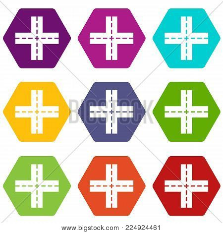 Crossing road icon set many color hexahedron isolated on white vector illustration