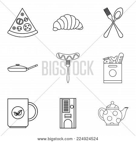 Have supper icons set. Outline set of 9 have supper vector icons for web isolated on white background