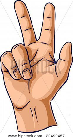 Hands showing two finger gesture