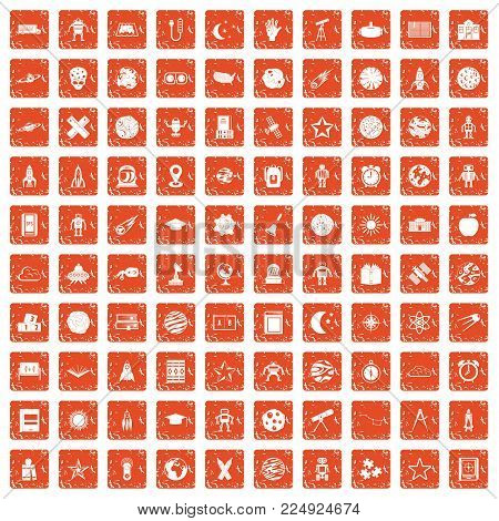100 astronomy icons set in grunge style orange color isolated on white background vector illustration