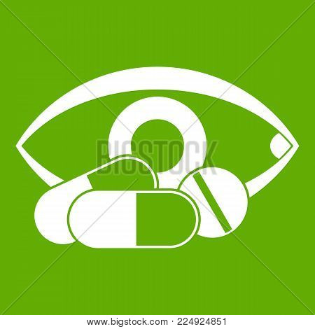 Treatment of the eye icon white isolated on green background. Vector illustration