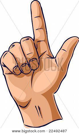 Hands showing one finger gesture