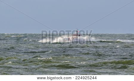 PILOT VESSEL - Motorboat is fighting with sea waves
