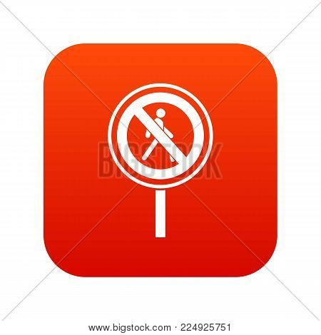 No pedestrian sign icon digital red for any design isolated on white vector illustration