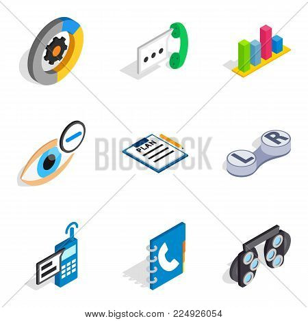 Communication mailed icons set. Isometric set of 9 communication mailed vector icons for web isolated on white background
