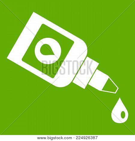 Bottle for eye drops icon white isolated on green background. Vector illustration