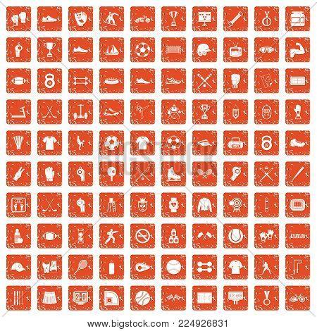 100 athlete icons set in grunge style orange color isolated on white background vector illustration