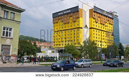 Sarajevo, Bosnia & Herzegovina - October 2017: The Iconic Holiday Inn Being Witness To The Tumultuou