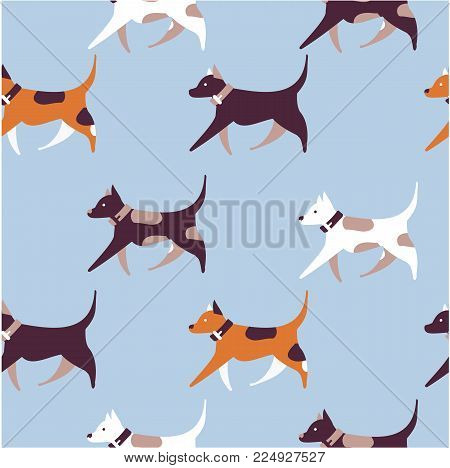 vector illustration seamless pattern of dogs jumping running around playing or bamboo and textiles