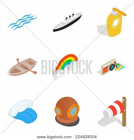 Sea conditions icons set. Isometric set of 9 sea conditions vector icons for web isolated on white background
