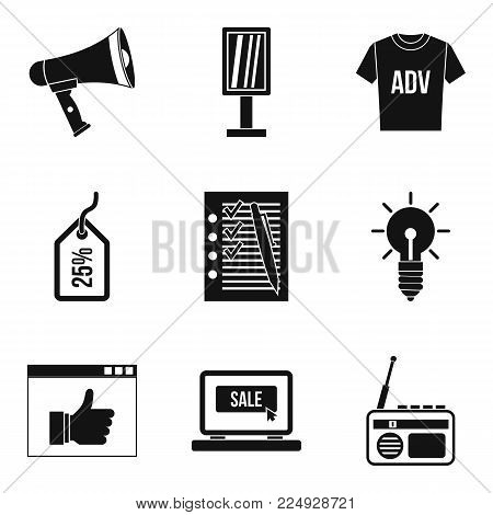 Sellout icons set. Simple set of 9 sellout vector icons for web isolated on white background