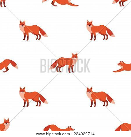 Cute Seamless Pattern With Red Foxes. Vector Illustration For Decoration For Textile, Notebooks, Wal