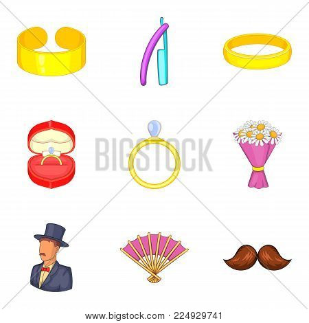 Bonds of marriage icons set. Cartoon set of 9 bonds of marriage vector icons for web isolated on white background