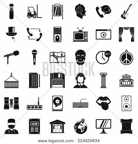 Tech widget icons set. Simple set of 36 tech widget vector icons for web isolated on white background