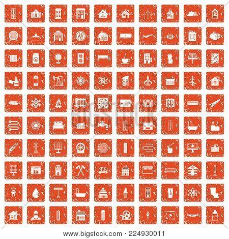 100 heating icons set in grunge style orange color isolated on white background vector illustration