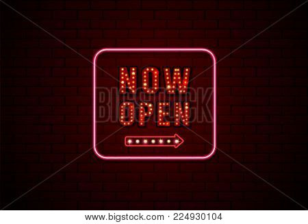 now open sign neon and bulb on brick wall background vector illustration