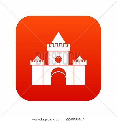 Fairytale castle icon digital red for any design isolated on white vector illustration