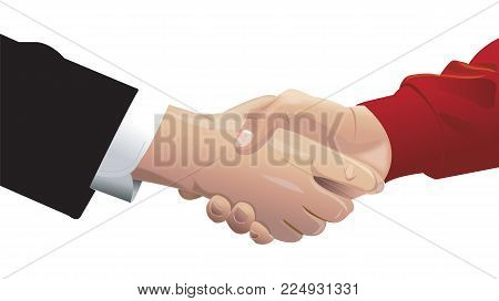 Handshake Of Two Men Dressed In Business Suit And Red Sweater. Business Agreement Or Greeting, Partn