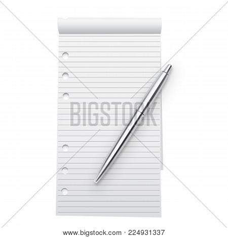 Notebook Mock Up And Silver Metallic Pen Isolated On White Background. Lined Pages Copybook Template