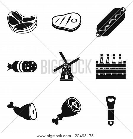 Meat a delicacy icons set. Simple set of 9 meat a delicacy vector icons for web isolated on white background