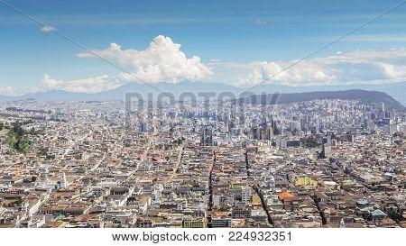 Panorama of Quito, Ecuador as seen from the Panecillo, a 200-metre-high hill of volcanic-origin