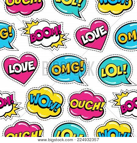 Seamless Colorful Pattern With Comic Speech Bubbles Patches On White Background. Expressions Love, L
