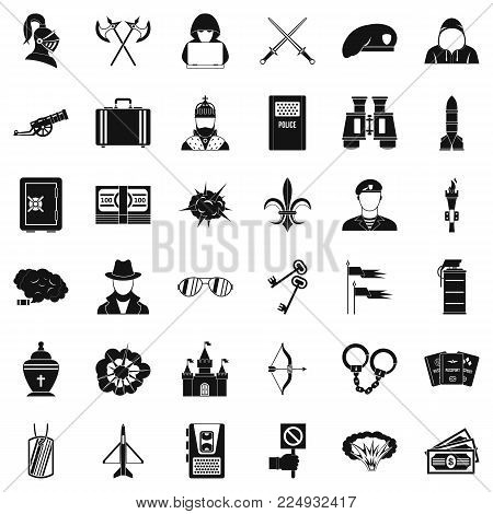 Act of aggression icons set. Simple set of 36 act of aggression vector icons for web isolated on white background