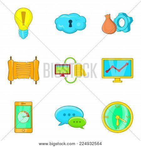 Mass media representative icons set. Cartoon set of 9 mass media representative vector icons for web isolated on white background