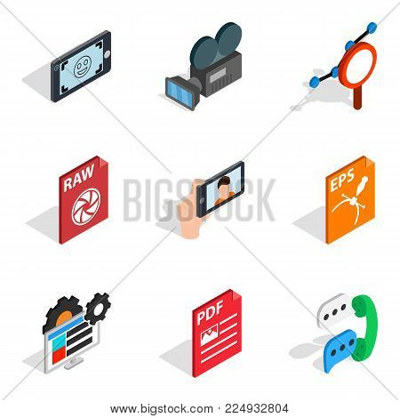Multimedia icons set. Isometric set of 9 multimedia vector icons for web isolated on white background