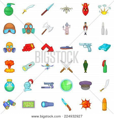 Defense icons set. Cartoon set of 36 defense vector icons for web isolated on white background