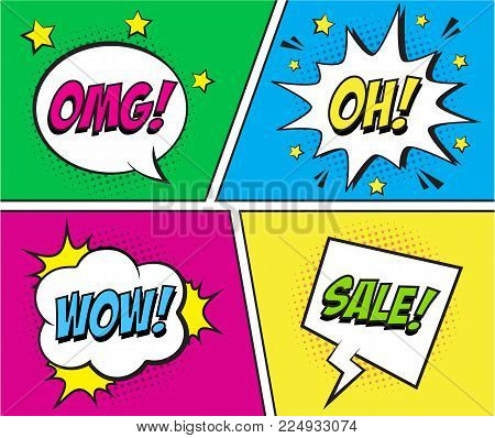 Retro Comic Speech Bubbles Set On Colorful Background. Expression Text Omg, Oh, Wow, Sale. Vector Il