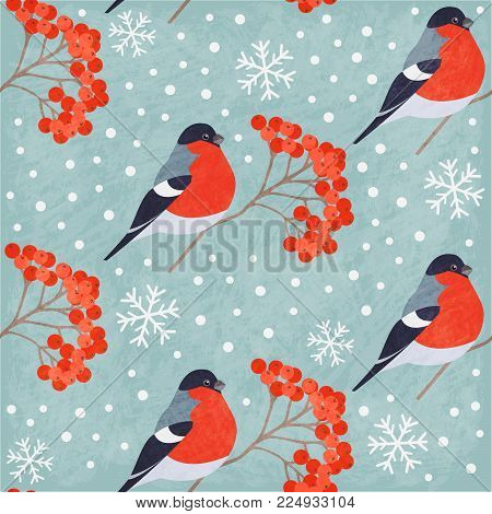 Winter Vintage Seamless Pattern With Bullfinch, Rowan And Snowflakes On Gray Background. Shabby Text