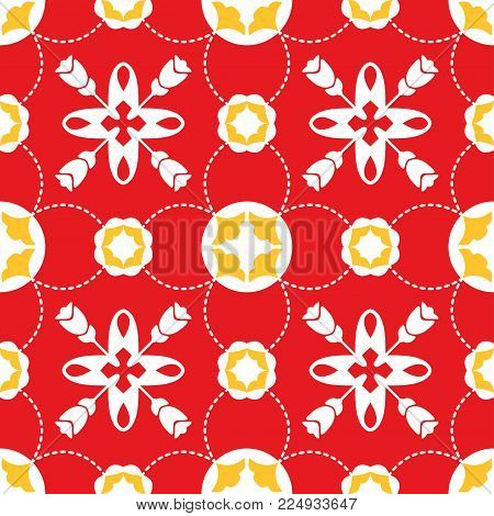 Seamless pattern illustration in traditional style - like Mediterranean tiles. Abstract ceramic tiles pattern of red yellow color for wallpapers and background. Vector illustration