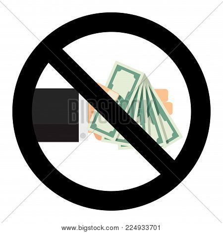 No, Banknote, Dollar, Cash, Stop, Bribe, Bribery, Finance, Ban, Hold, Forbidden, Corruptibility, Law