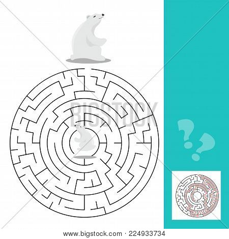 Maze game for children with polar bears - vector image