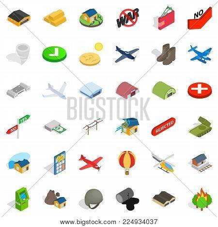 Military affairs icons set. Isometric set of 36 military affairs vector icons for web isolated on white background