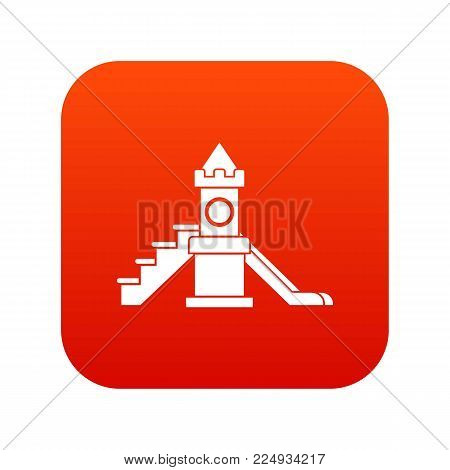 Slider, kids playground equipment icon digital red for any design isolated on white vector illustration