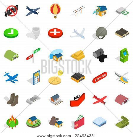 Military field icons set. Isometric set of 36 military field vector icons for web isolated on white background