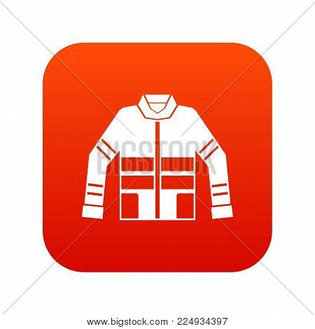 Firefighter jacket icon digital red for any design isolated on white vector illustration