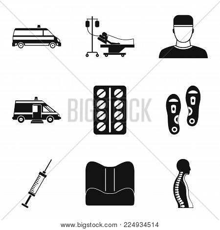 Medical procedure icons set. Simple set of 9 medical procedure vector icons for web isolated on white background
