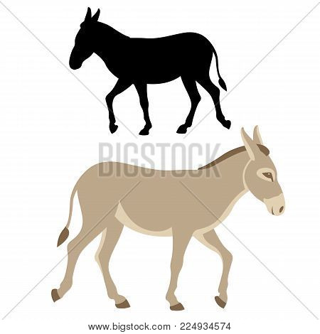 donkey  silhouette vector illustration flat style profile side