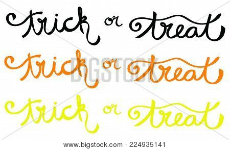 Happy Halloween Trick or Treat Lettering Isolated